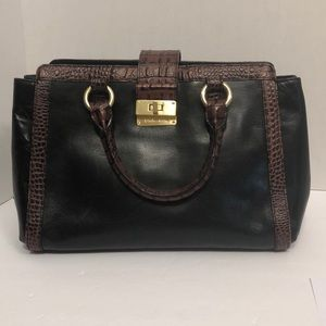 BRAHMIN LARGE BLACK LEATHER PURSE HANDBAG